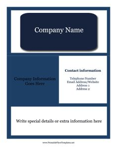 A Printable Blue Flyer With Lots Of Room For Details About A Company Or  Service.  Pull Tab Flyer Template