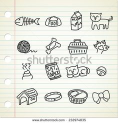 set of #cat related #icon in doodle style - stock vector  #design #graphic #vector #illustration #doodle #sketch #element #pet