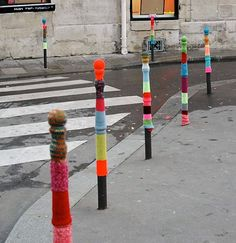 Guerilla knit street poles