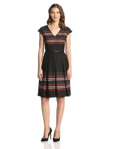 Anne Klein Women's V Neck Stripe Fit and Flare Dress, Crimson/Multi, 16