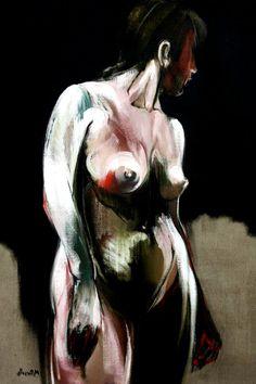 Martine Pinsolle, *Observatrice*, nu 1281, 2012, óleo sobre tela, 116 cm x 89 cm
