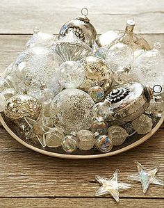 Silver and White Christmas Baubles Table Decor