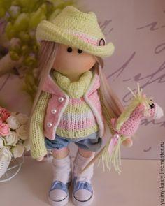 Купить Текстильная куколка- малышка Леся - салатовый, кукла ручной работы, кукла текстильная