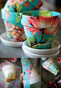 Decoupage is the action of designing items with unique papers and unique methods. It's possible to also utilize decoupage to transfer a photo to another surface. Colored Decoupage Some decoup… Diy Mod Podge, Mod Podge Crafts, Fabric Crafts, Mod Podge Ideas, Mod Podge Fabric, Decorative Paper Crafts, Diy Gifts To Make, Homemade Gifts, Homemade Mothers Day Gifts