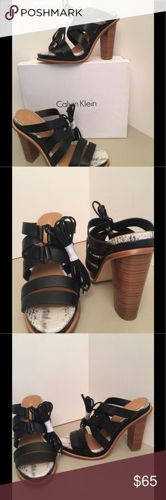 "Calvin Klein Ankle Tie Heel Sandals New in box leather Ankle tie with approx. 5.5"" stacked heel and padded footbed Calvin Klein Shoes Heels"