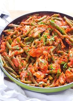(Omit oil for Phase 1): Saucy Green Beans and Chicken - mess free, embarrassingly easy. It's even doable in a hotel kitchenette.