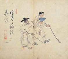 Genre Painting by Kim Hong-do, 지팡이를 든 두 맹인