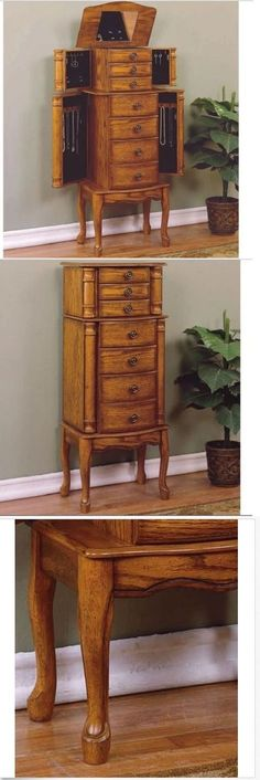 Jewelry Boxes 3820: Antique Look Jewelry Armoire Vintage Tall Free Stand Storage Mirror Holder Oak BUY IT NOW ONLY: $174.99