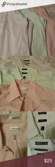 Bundle of 3 Men's dress shirts All 17, 34/35 XL 1 Claiborne by John Bartlett(striped), 1 IZOD (seafoam), 1 Van Heusen(light pink) All clean and in excellent used condition The only flaw is the small ink spot shown in pic 4 Izod Shirts Dress Shirts