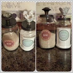 DIY canisters made from repurposed spaghetti sauce jars.  Just need a little spray paint for the lids and your favorite handles from Hobby Lobby!