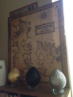 Game of Thrones party dragon egg and map decoration that my friends made for my party :)