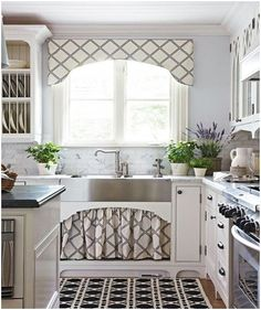 How about a window treatment that matches a sink curtain. A unique design idea for a kitchen. - See more at: http://www.free-home-decorating-ideas.com/Window-Covering-Ideas.html