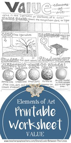 This elements of art printable worksheet covers the element of art value See examples of how to shade a value scale cast shadow highlight shadow stippling hatching cross. Art Education Lessons, Art Lessons Elementary, Elements Of Art Line, Elements Of Design, Intro To Art, Classe D'art, Art Handouts, Value In Art, Art Worksheets