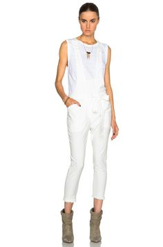 ~ ISABEL MARANT WHITE LINEN LANA OVERALLS / JUMPSUIT (INSTANT STYLE CRED!) 34 #SUEWONG #Overalls