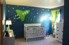 Space Themed Nursery - love the space mural! #nursery