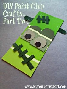 Thrifty Crafts Fall Crafts For Kids, Holiday Crafts, Holiday Fun, Classroom Halloween Party, Classroom Projects, Halloween Decorations, Halloween Ideas, Paint Chips, Fall Diy