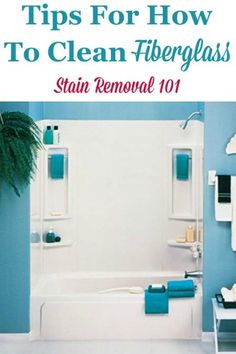 Here are tips, tricks and product recommendations for how to clean fiberglass, such as in sinks, bathtubs, showers, and more {on Stain Removal 101} #CleanFiberglass #FiberglassCleaning #CleaningTips Deep Cleaning Tips, House Cleaning Tips, Diy Cleaning Products, Spring Cleaning, Cleaning Checklist, Cleaning Service, Fiberglass Shower, Bathroom Cleaning Hacks, Glass Cooktop