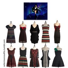 Sailor Pluto-inspired ModCloth dress set (from left to right) 1. Owl Packed To Go dress 2. Seen On Set dress 3. You And Me Forever dress in Black 4. Trifle With Me dress 5. SoCaliente dress 6. Ink A Blot Of You dress 7. Reverie Day dress 8. Beauty In The Brightness dress 9. Ladders And Lasses dress 10. When You Can Dance dress in Jade
