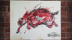 "Arkansas Razorback painting ""Hog Slop"" on canvas board"