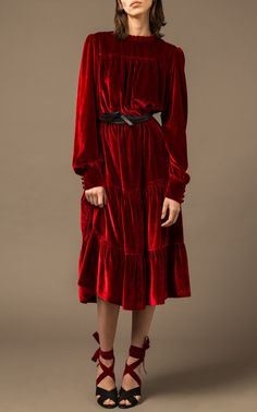 Beatrice Midi Dress by Raquel Diniz Casual Day Dresses, Grad Dresses, Modest Fashion, Fashion Dresses, Velvet Fashion, Elegant Outfit, Fashion Sketches, Dress To Impress, Dress Up