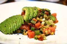 Yard House copy cat Chopped Salad   avocado, tomatoes, bacon, corn, cilantro, cucumbers, celery, onions, bloody mary vinaigrette