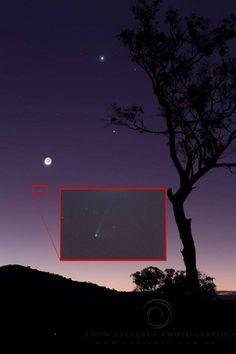 Moon, Venus, Jupiter and comet on July 18 by John Lafferty.