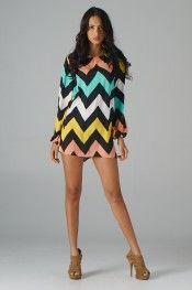Multi Color Chevron Dress (Multicolor) - Front
