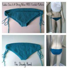 Free Crochet Pattern Ladies String Bikini Bottom Collage
