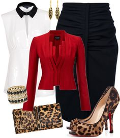 Love this gorgeous red blazer combined with the black pencil skirt and leopard print clutch and Louboutins.