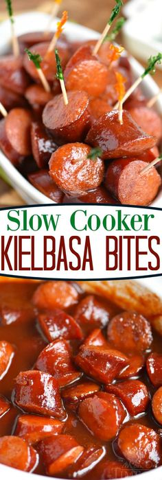 The best appetizer ever! These Slow Cooker Kielbasa Bites are so easy to make and are guaranteed to be a hit at your next party! Great over rice for dinner too! // Mom On Timeout dinner Slow Cooker Kielbasa Bites Crock Pot Recipes, Slow Cooker Recipes, Cooking Recipes, Crockpot Keilbasa Recipes, Crockpot Meals, Crock Pots, Turkey Kielbasa Recipes, Slow Cooker Desserts, Crockpot Dishes