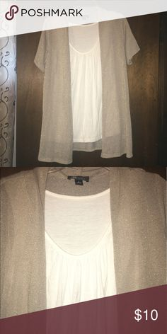 AB studio Gold shimmer with built in top under, lightweight and flows, size Large, EUC, smoke free AB Studio Tops Tees - Short Sleeve