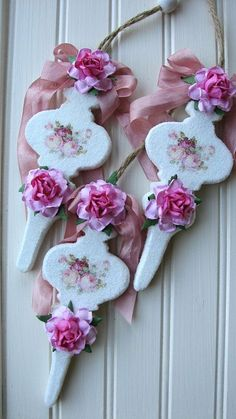 Trio Of Wooden Ornaments-ornaments,holiday,Christmas,pink,roses,decal,handmade,glitter,wood,ribbon,paper,shabby,cottage,chic,paint