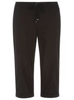 Womens Black Cotton Cropped Trousers- Black