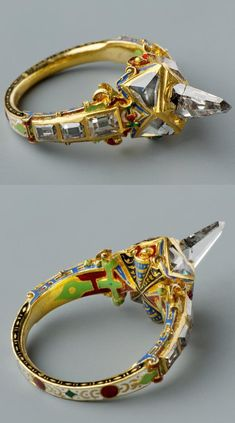 Icicle-shaped diamond ring, called Matthias ring, late 16th century, Southern Germany (probably), gold, diamonds, enamel, height: 3.5 cm, diameter: 2.3 cm #GoldJewellery16ThCentury