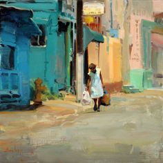 "Kim English ""Colorful Neighborhood,"" ca. Kim English, Urban Landscape, Abstract Landscape, Landscape Paintings, Landscapes, Paintings I Love, Beautiful Paintings, Painting Styles, English Artists"