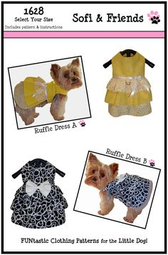 Dog Clothes Sewing Pattern 1628 Ruffle Dog Dress for the Little Dog in Two Styles $8.25