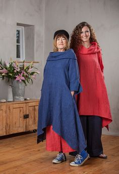 Paris Tunic in blue line over Attius Trousers £205 and rose linen over Moroccan Trousers £195.