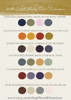 2016 Fall Wedding Colors and Combination Inspirations from notedoccasions.com
