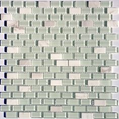 Mini Glass Subway Mosaic Tile White is a combination of glass and natural stone tiles mounted on a 12x12 interlocking sheet for backsplash, and bathroom, bathroom, and shower walls. Samples availabe!