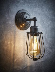 Orlando Vintage Wire Cage Retro Sconce Wall Light – Dark Pewter Anyone can develop a house sweet house, even when the price range is tight. Rustic Wall Lighting, Industrial Wall Lights, Vintage Wall Lights, Rustic Wall Sconces, Retro Lighting, Direct Lighting, Outdoor Wall Lighting, Living Room Lighting, Bar Lighting