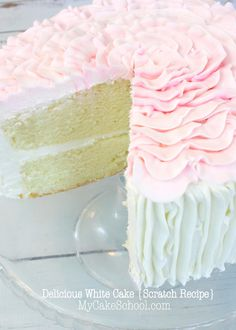 Delicious Scratch White Cake Recipe by MyCakeSchool.com! Online Cake Tutorials & Recipes!