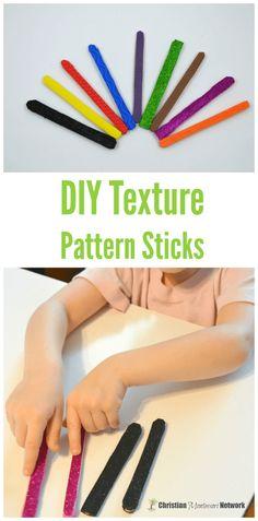 DIY texture pattern sticks for preschoolers.