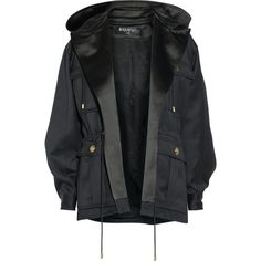 Balmain Hooded wool-gabardine jacket ($1,542) ❤ liked on Polyvore featuring outerwear, jackets, coats, tops, coats & jackets, evening jackets, wool jacket, pocket jacket, balmain and hooded jacket
