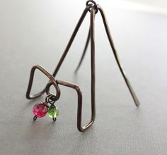 """This really unusual and artisan business card holder hand forged with 12 gauge solid copper wire hammered, tumbled, oxidized and hand polished for more style and strength and embellished with apple green and red berry colors of quartz dangles.     It's 1 3/4""""(4.2cm) wide, 2""""(5cm) deep and 2 1/2""""(6.3cm) high."""