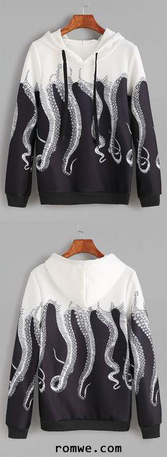 Black White Octopus Print Drawstring Hooded Sweatshirt