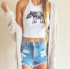 top elephant crop tops halter neck racer back tank tank top graphic crop tops graphic tee black and white crop tops high waisted shorts Crop Top Outfits, Summer Outfits, Casual Outfits, Cute Outfits, Teen Fashion, Fashion Outfits, Womens Fashion, Boho Fashion, Blonde Fashion