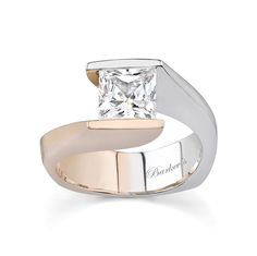 Princess Cut Solitaire engagement Ring - 7084LPW - A modern twist on a vintage bypass ring this two tone solitaire engagement ring is a dazzler. A rose and white gold split shank sports a channel set princess cut diamond center captured between it's ridges; a bright polished finish adds a touch of elegance to this stunning ring. Also available in 18k and Platinum.