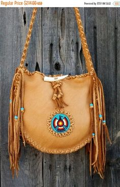 ON SALE Leather tote , Southwestern totes , Fringed leather tote , Sedona bags…