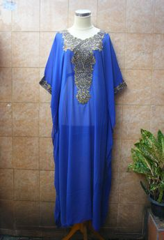 FANCY BLUE kaftan Dubai style embroidery abaya hijab by aboyshop, $55.55