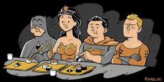 Batman, Mulher Maravilha, Super Homem e Aquaman no Restaurante Japonês